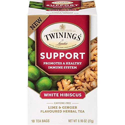 Twinings of London Daily Wellness Tea, Support Healthy Immune System White Hibiscus, Lime & Ginger, Flavored Herbal Tea, 18 Count (Pack of 1)