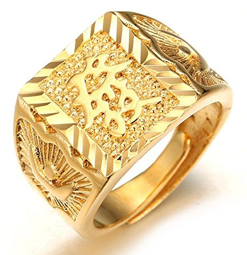 Halukakah ● Gold Segne Alle ● Männlich 18K Gold überzogen Kanji Ring REICH Größe verstellbar mit KOSTENLOSER Geschenkpackung