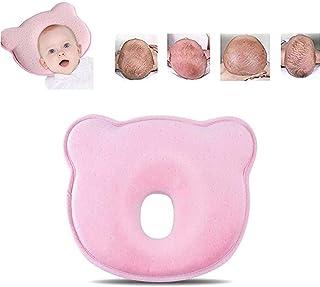 ANSGEC Almohada Bebe Recién Nacida Bebé Almohada Anti-Plano Cabeza de Memoria Espuma Cojin Bebe con Diseño Ergonómico(Rosa)