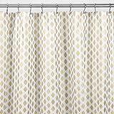 mDesign Duschvorhang mit tollem Rauten-Muster - perfektes Badzubehör mit idealen Maßen - langlebige Duschgardine aus weichem Polyester - weiß/gold