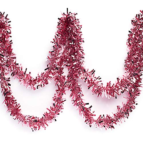 Anderson's Metallic Tinsel Twist Garland, Light Pink - 4 inches Wide x 25 feet Long