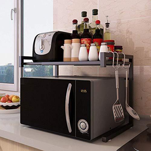XU FENG Ausziehbarer Mikrowellenherd mit 2 Ebenen Hochbelastbarer Mikrowellen-Regalständer mit 3 hängenden Haken Küchenablageorganisator, Arbeitsplatte-Küchenofen-Regal, DREI Farben optional