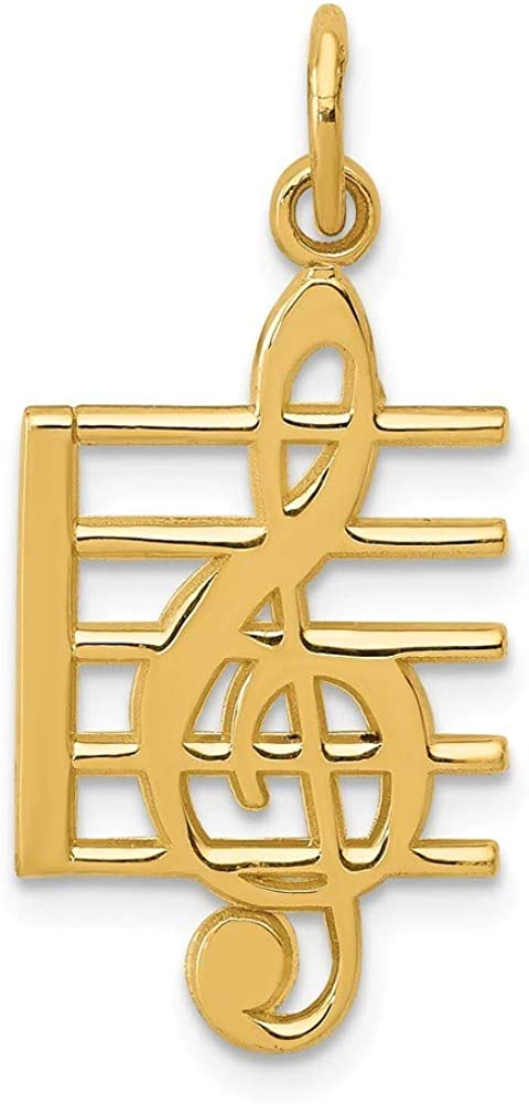14k Yellow Gold Solid Music Pendant Note ご予約品 Charm Jewelry Necklace 選択