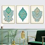 zszy Islamischen Türkis Floral Wandkunst Leinwand Gemälde