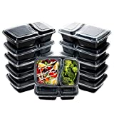 I00000 60pack Meal Prep Containers with Lids, 28 oz Black Rectangular Lunch Containers, 2...