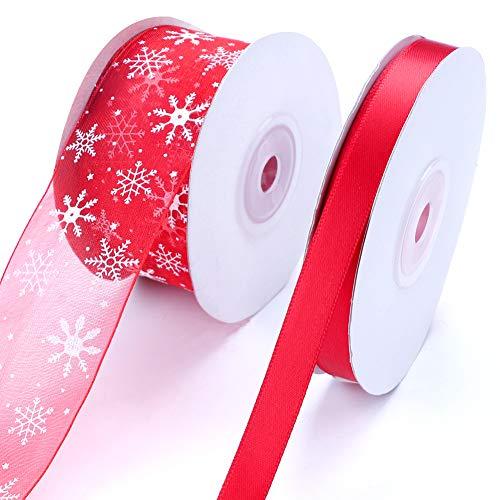 Nastro di raso di Natale e nastro di organza 50 iarde Nastro rosso e fiocco di neve Confezioni regalo per confezione regalo di Natale Sacchetti di caramelle Confezionamento Progetti di artigianato