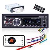 Radio de Coche con Reproductor de CD 1 DIN CAMECHO Bluetooth Manos Libres Receptor de FM estéreo de Coche de un Solo DIN con USB Micro SD AUX Reproductor de MP3 con Control Remoto, 4x50W