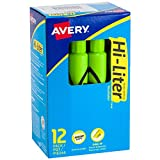 Avery Hi-Liter Desk-Style Highlighters, Smear Safe Ink, Chisel Tip, 12 Fluorescent Green Highlighters (24020)