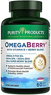 OmegaBerry Fish Oil with Vitamin D3 & Organic Acai - 60 Soft Gels - 30 Day Supply from Purity Products