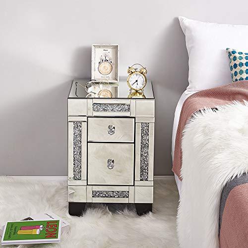 Table de Chevet Miroir Meuble de Rangement en Verre + Cristal, 2 Tiroirs sur Salon, Chambre, Bureau Salle de Bains, 38 x 35 x 56,5 cm