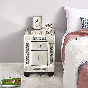 Panana - 1 * Mesilla de Noche 2 Cajoneras Espejos Cristal Modelo Diamantes para Dormitorio Dejar Fotos Adornos Lámparas Teléfono