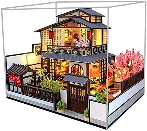 Lujoso Kit de casa de muñecas de Bricolaje en Miniatura con Luces LED a Prueba de Polvo Modelo de Villa Japonesa 3D Casa de muñecas de Madera Muebles Artesanía a Mano Habitación Creativa