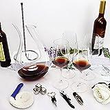 Dekanter & weingläser set, 1.5L Weinkaraffe mit Eisstein, 4 Weinglas, Stück Herzform Weinverschluss, Korkenzieher, Belüftung Ausgießer, Halterung zum Trocknen & Reinigungsbürste,Geschenke für Männer - 6