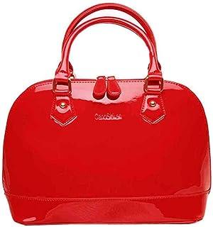 MEGAUK Damen Lack Leder Handtasche/Damenhandtasche/Schultertasche/Crossbody Bag/Umhängetaschen/Henkeltasche mit Reißversch...
