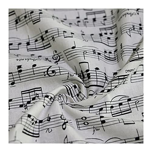 ANWUYANG BU 1 Unids CláSico Blanco MúSica Blanco Nota Imprimir Pelmo Popello De Algodón, Nota Musical De 110 Cm Tela De Algodón Impreso para Bricolaje Cojín De Bolsa De Tela De Costura
