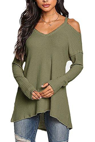 YOINS Camiseta Mujer de Manga Larga Camisa con Hombros Fríos Color Sólido Cuello en V Blusa Verde XS