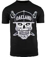 Mens Day of The Dead Sugar Skull Oakland California Mens Shirt (Black, 3XL)