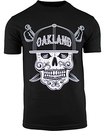 Mens Day of The Dead Sugar Skull Oakland California Mens Shirt (Black, 2XL)