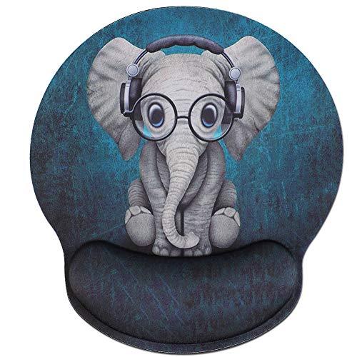 Memory Foam Mousepad with Wrist Support Design Ergonomic Mouse Pad Comfortable Wrist Rest Non-Slip PU Base Mouse Mat (Cute Elephant-Foam Wrist)