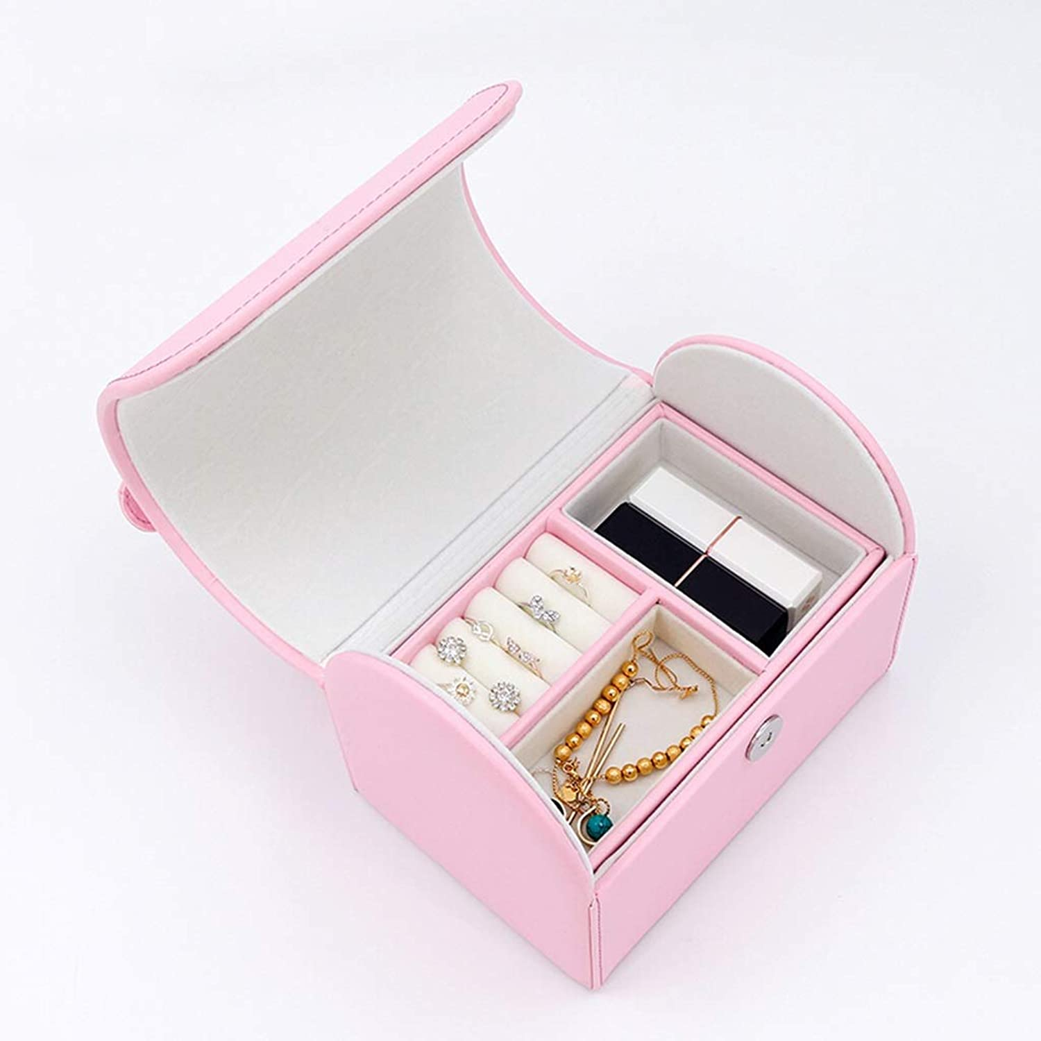 Hang-Dressers Jewelry Box, Imitation Leather Jewellery Case and Display Cabinet 2 Layers with Mirror Ring, Earrings, Necklace, Bracelet Organizer (color   Pink)