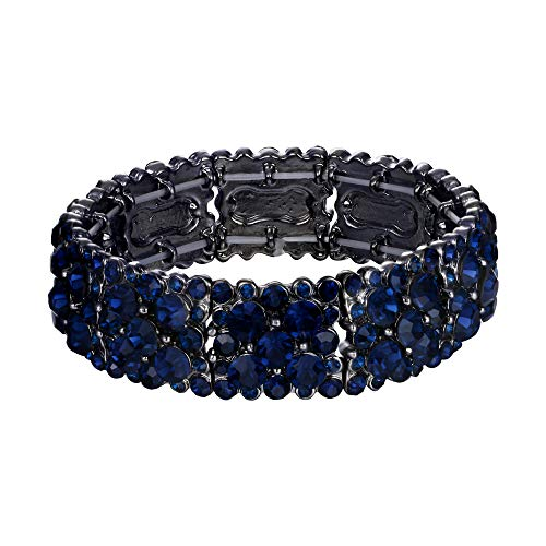 EVER FAITH Women's Round Austrian Crystal Elegant Bridal Stretch Bracelet Blue Black-Tone