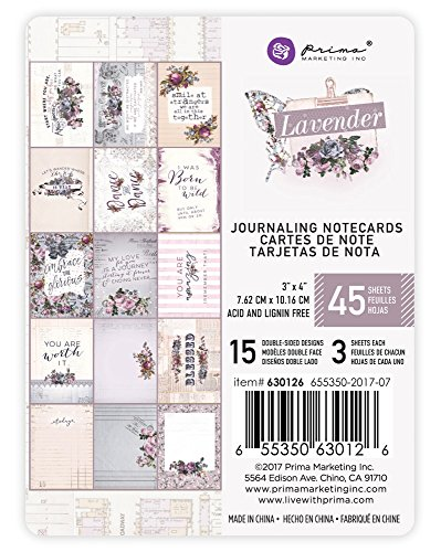 Prima Marketing Lavender-3x4 Journaling Card