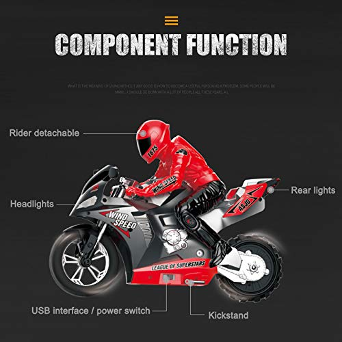 Binghai Mini motocicleta juguete niños eléctrico control remoto RC motocicleta 2.4Ghz Racing...