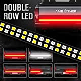 AMBOTHER 60-Inch Tailgate Light Bar Double Row Waterproof Light Strip Running Turn Signal Brake Reverse Tail Lights 5050 LEDs No Drill Install for Pickup Trucks Trailer Car