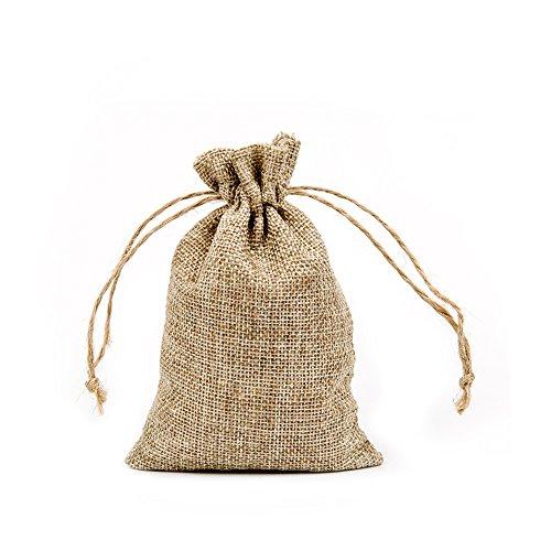 Shintop Jutesäckchen Klein, 15 x 10 cm Jutebeutel Geschenksäckchen mit Kordel für Hochzeit, Weihnachten, Partys, Adventskalender (10 Stück)