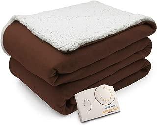 Biddeford Comfort Knit Natural Sherpa Electric Heated Blanket Full Chocolate