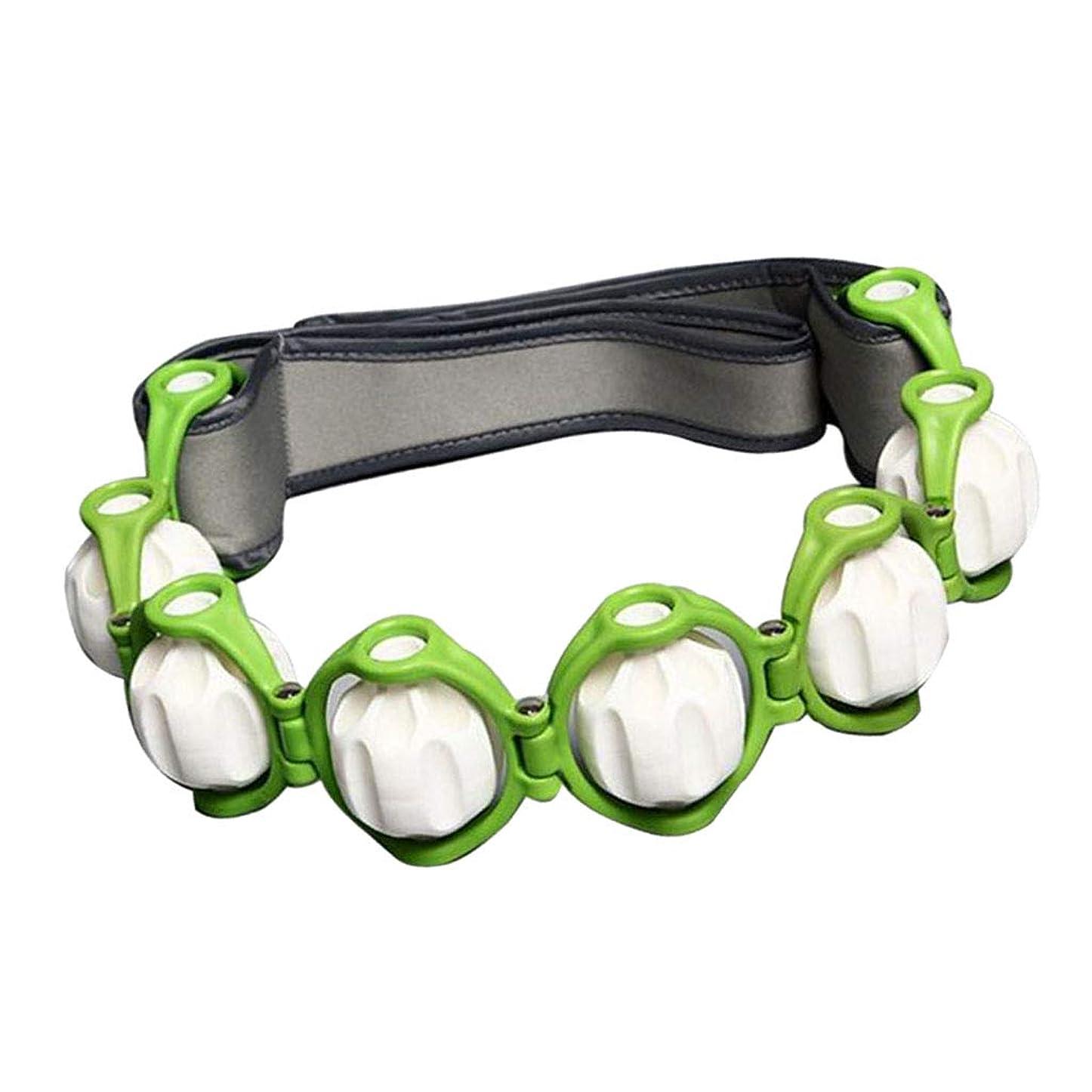 中世の読みやすさバクテリアchiwanji トリガーポイントノードローリングボール付きハンドヘルドフルボディマッサージローラーロープ - 緑, 説明したように