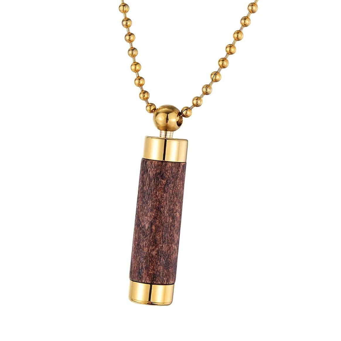 近傍小川トランペット[HOUSWEETY] 遺骨ペンダント 大容量 メモリアルペンダント ボトル型 手元供養 ステンレス 木製カバー メモリアルジュエリー 43x10mm(ゴールド,ブラウン)
