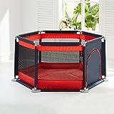 Baby Playpens Baby Crawling Mat Valla para Niños Zona De Juegos para Niños Cerca De Seguridad para Niños Hogar Portable Playpen with Mat Y 150 Marine Ball (Color : Rojo)