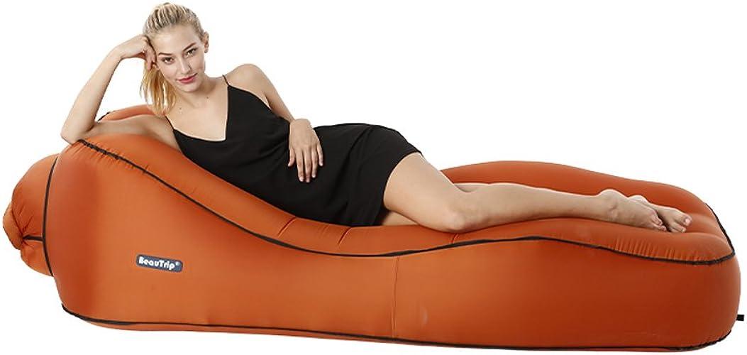 Canapé-lit Gonflable Orange Lit Gonflable Paresseux Matelas d'air Individuel Ménage extérieur Portable lit Pliant Air lit avec Pompe à air