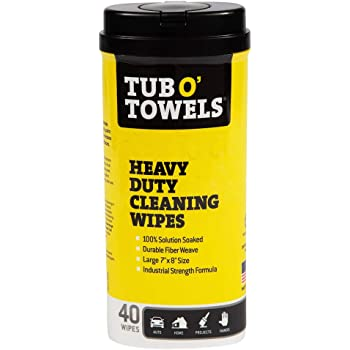 "Tub O' Towels TW40 Heavy-Duty 7"" x 8"" Size Multi-Surface Cleaning Wipes, 40 Count Per Canister, White"