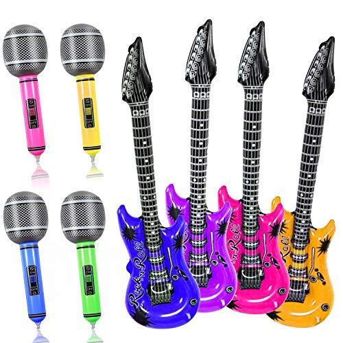 Yojoloin 8 Pcs Inflatables Gitarre Mikrofon Musikinstrumente Zubehör Für Party Supplies Party Favors Ballons Zufällige Farbe (8 STÜCKE)