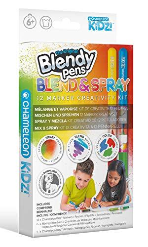 Blendy Pens Blend & Spray Set mit 12 Filzstifte, 6 Farbstifte Mischkammern und 1 Airbrush, Aquarell Zauberstifte, Marker in 12 Farben für tolle Farbverläufe, Kreativset für Kinder ab 6 Jahren