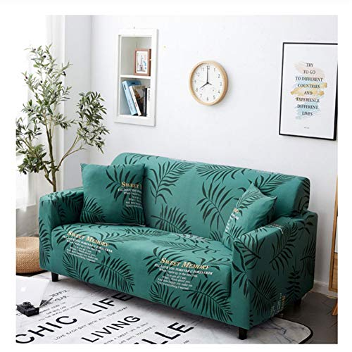 misshxh Green Sofa Cover, Plant Leaf Patroon, Antifouling Anti-lip Elastic Sofa Cover, Geschikt voor Kat, Hond, Huisdier Sofa Cover