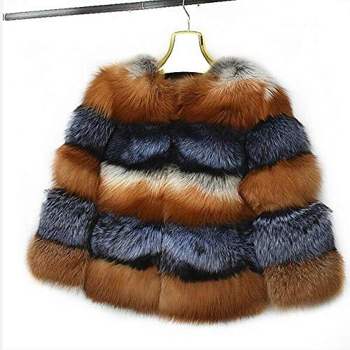 ZYJANO Warmer Mantel,Damen New Natural Jacke Winter Warm Fashion European Street Style, Rotfuchs Silberfuchs, XL