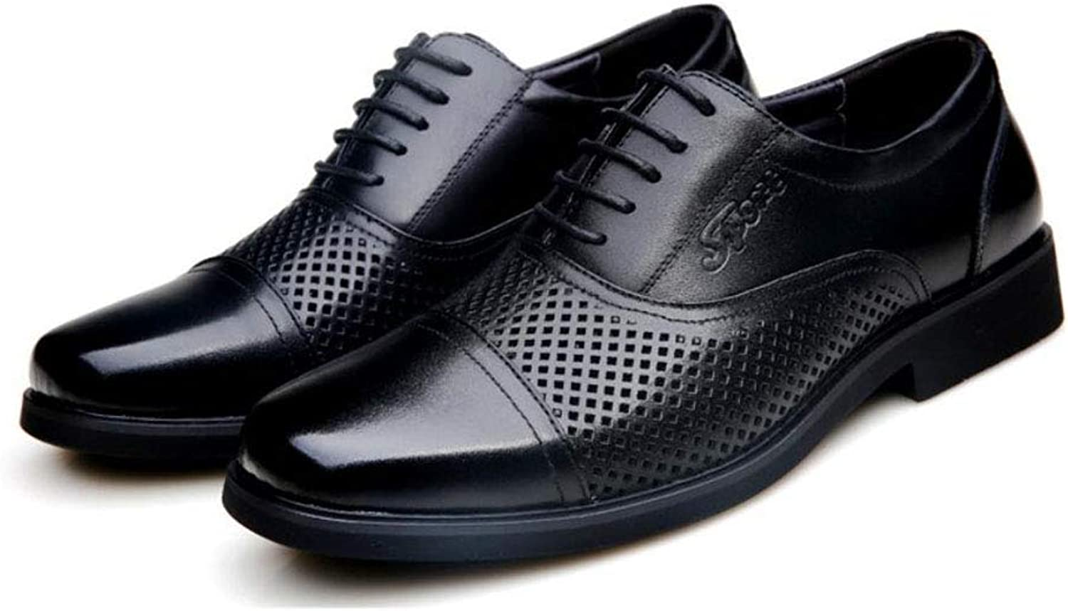 Y-H Men's Casual shoes,Leather Spring summer Hollow-out Driving shoes, Breathable Lace Up Formal Business shoes Office & Career Party & Evening