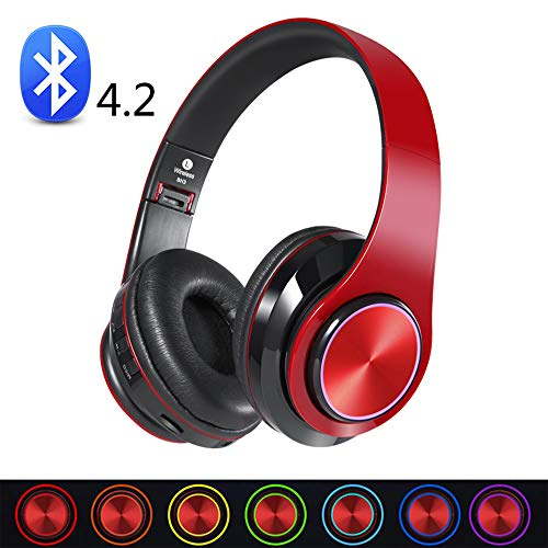 SHENGY 3-modus Earmuff draadloze bluetooth-headset, met 1 microfoon, 7 gekleurde LED-lampen, opvouwbare ruisonderdrukking stereo-headset, voor iPod PC laptop mp3 game