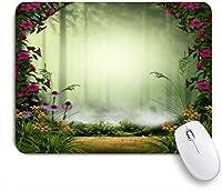 ECOMAOMI 可愛いマウスパッド 石の門と花に囲まれた3Dの妖精またはエルフの霧の森 滑り止めゴムバッキングマウスパッドノートブックコンピュータマウスマット