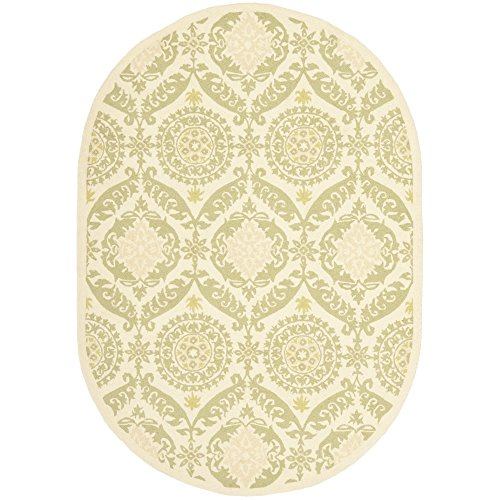 Safavieh Chelsea Collection HK356C Hand-Hooked Beige and Green Premium Wool Oval Area Rug (4'6' x 6'6' Oval)