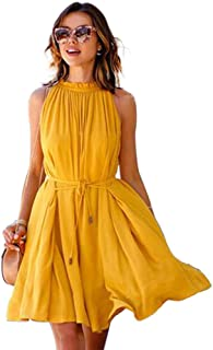 HHIMNO Women's Summer Sweet & Cute Dresses Pleated Casual Sleeveless Belt Yellow Swing A Line Mini Dress with Pockets
