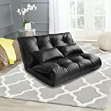 Floor Sofa Bed, Floor Futon Sofa Couch, Foam Floor Sofa, Adjustable Floor Couch and Sofa with 2 Pillows for Reading, Gaming, Sleeper (Black)