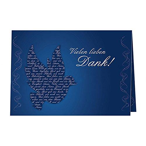 5 Danksagungskarten mit passenden Umschlägen, Danksagungskarten zur Kommunion Konfirmation Firmung, Klappkarten im Set zu 5 Stk.blaue Taube
