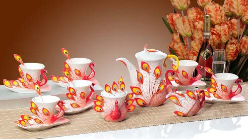 KingDao 21PCS China Porcelain Peacock Coffee Set Tea Cup Home Use Romantic Creative Present 6 Coffee Cups Sets 1 teapot 1 Milk Pot 1 Sugar Pot All 21pcs (Red)