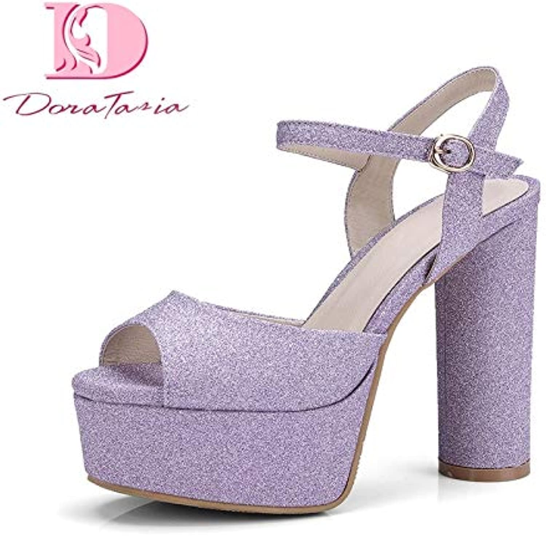 HOESCZS Trendy Style Larges Larges Larges Größe 32-42 Peep Toe Plattform Knöchelriemen Sandalen Schuhe Frauen Bling High Heels Party Schuhe Frau,9,5,  06374e