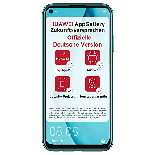 HUAWEI P40 lite Dual-SIM Smartphone Bundle (16 cm (6.4 inch), 128 GB internal memory, Android 10.0 AOSP without GBogle Play Store, EMUI 10.0.1) crush green [Exclusive + 5EUR Amazon voucher]