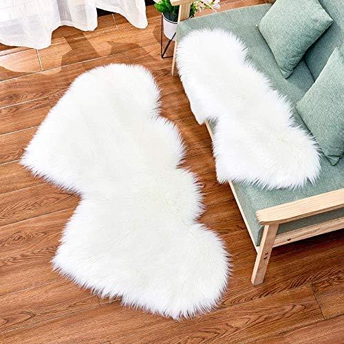 Alfombras de área mullidas Alfombra de Yoga Antideslizante para alfombras de Sala de Estar Dormitorio, Blanco 60 * 120 cm en Forma de corazón Doble
